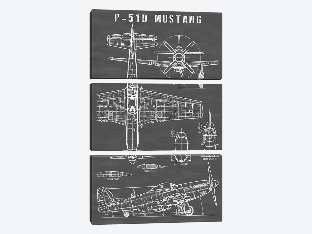 P-51 Mustang Vintage Airplane   Black by Action Blueprints 3-piece Canvas Artwork