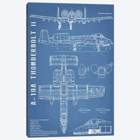 A-10 Thunderbolt II [Warthog] Airplane | Black - Portrait Canvas Print #ABP4} by Action Blueprints Canvas Artwork