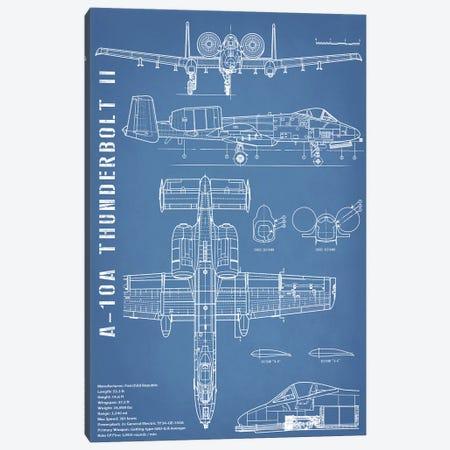 A-10 Thunderbolt II [Warthog] Airplane | Black - Portrait Canvas Print #ABP4} by Action Blueprints Canvas Artwork