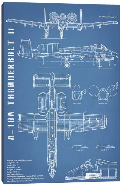 A-10 Thunderbolt II [Warthog] Airplane | Black - Portrait Canvas Art Print