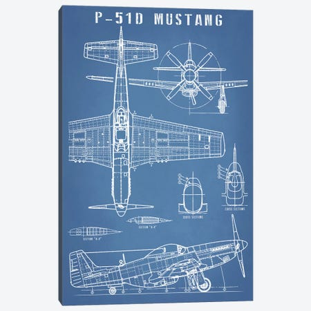 P-51 Mustang Vintage Airplane Blueprint Canvas Print #ABP50} by Action Blueprints Art Print
