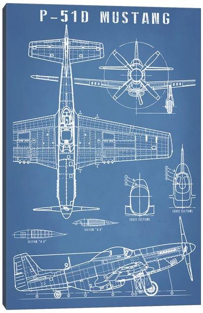 P-51 Mustang Vintage Airplane Blueprint Canvas Art Print