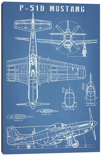 P-51 Mustang Vintage Airplane Blueprint Canvas Art Print