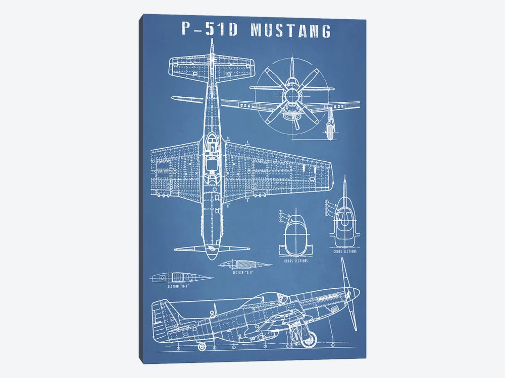 P-51 Mustang Vintage Airplane Blueprint by Action Blueprints 1-piece Canvas Wall Art
