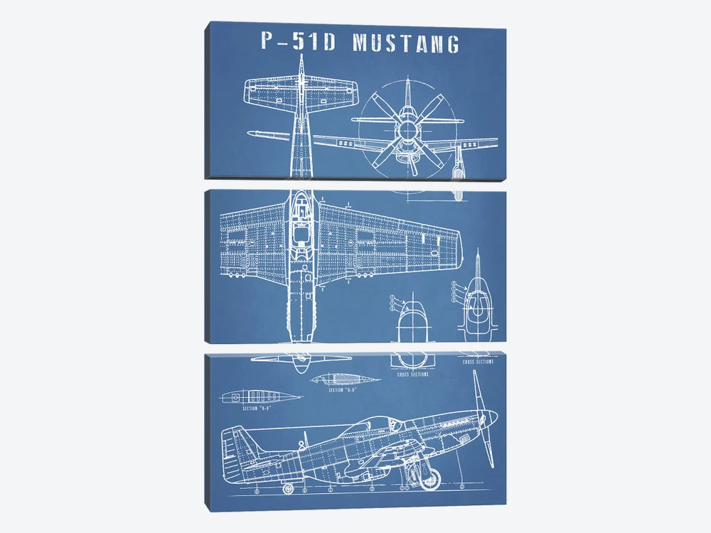 P-51 Mustang Vintage Airplane Blueprint by Action Blueprints 3-piece Canvas Wall Art