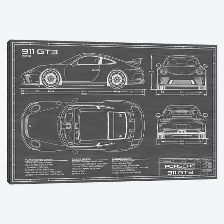 Porsche 911 GT3 (991) | Black Canvas Print #ABP51} by Action Blueprints Art Print