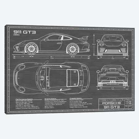Porsche 911 GT3 (991) | Black Canvas Print #ABP51} by Action Blueprints Art Print