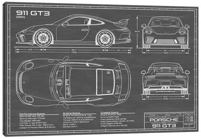 Porsche 911 GT3 (991) | Black Canvas Art Print