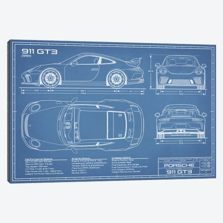 Porsche 911 GT3 (991) Blueprint Canvas Print #ABP52} by Action Blueprints Canvas Print