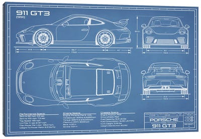 Porsche 911 GT3 (991) Blueprint Canvas Art Print