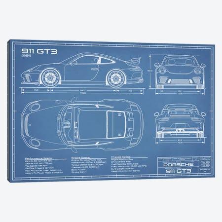 Porsche 911 GT3 (991) Blueprint Canvas Print #ABP52} by Action Blueprints Canvas Print