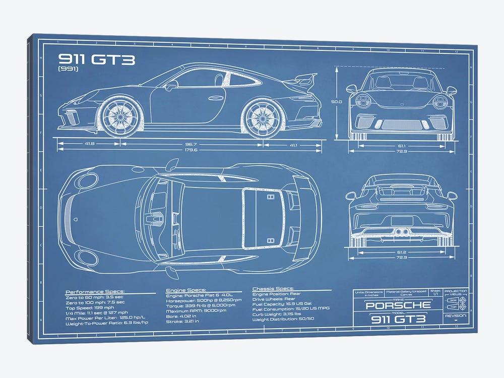 Porsche 911 GT3 (991) Blueprint by Action Blueprints 1-piece Canvas Artwork