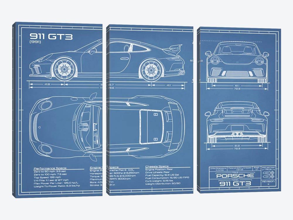 Porsche 911 GT3 (991) Blueprint by Action Blueprints 3-piece Canvas Artwork