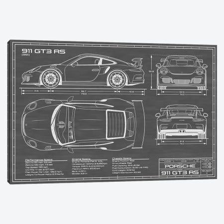 Porsche 911 GT3 RS (991) | Black Canvas Print #ABP53} by Action Blueprints Canvas Art Print