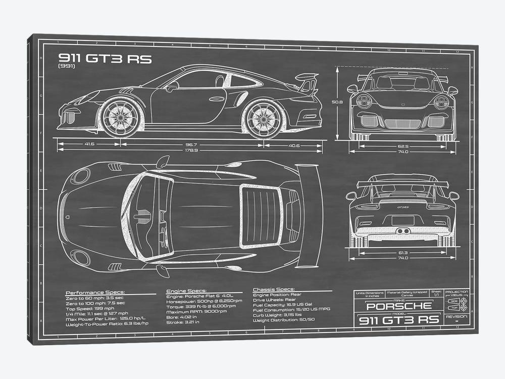 Porsche 911 GT3 RS (991)   Black by Action Blueprints 1-piece Canvas Art Print