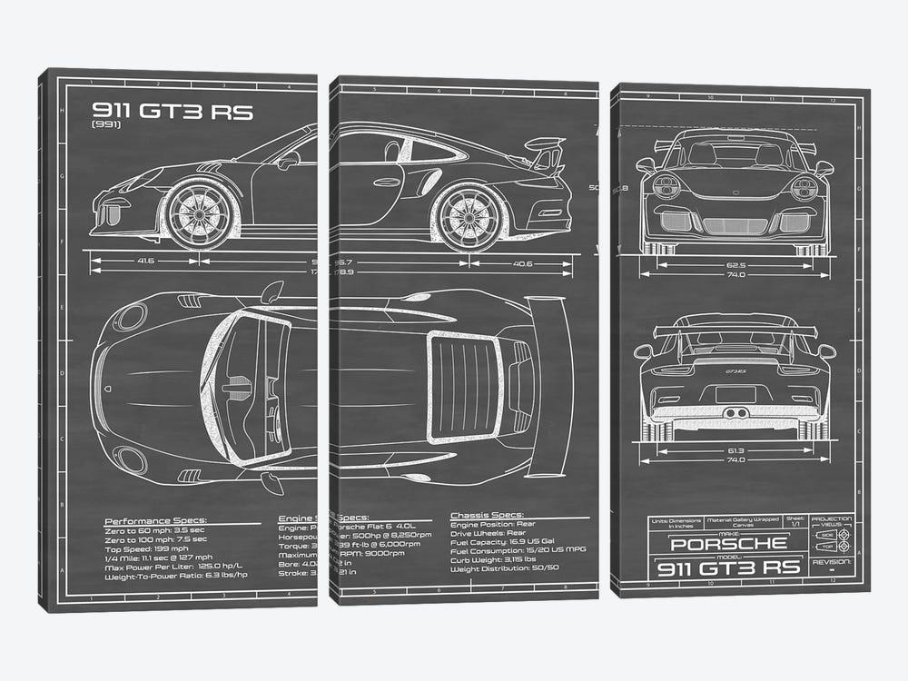 Porsche 911 GT3 RS (991)   Black by Action Blueprints 3-piece Canvas Art Print