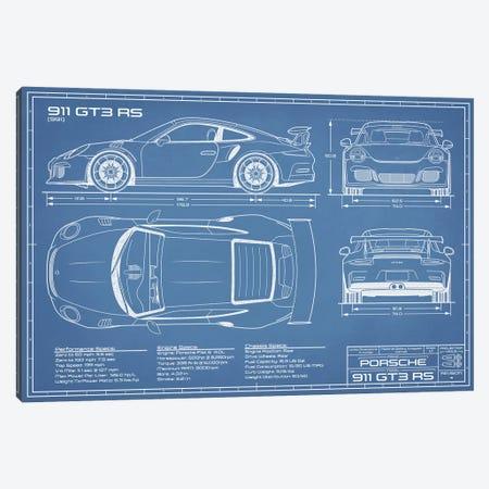 Porsche 911 GT3 RS (991) Blueprint Canvas Print #ABP54} by Action Blueprints Canvas Wall Art