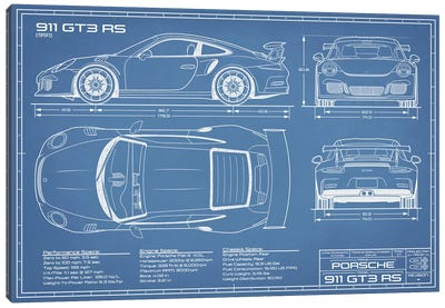 Porsche 911 GT3 RS (991) Blueprint Canvas Art Print