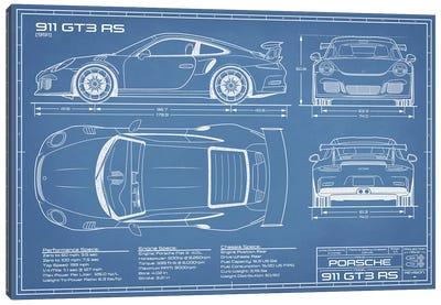 Porsche 911 GT3 RS (991) Blueprint Canvas Art Print