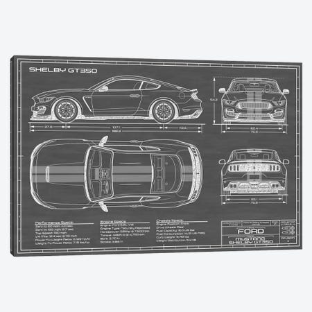 Shelby GT350 (2015-2019) Black 3-Piece Canvas #ABP57} by Action Blueprints Canvas Wall Art