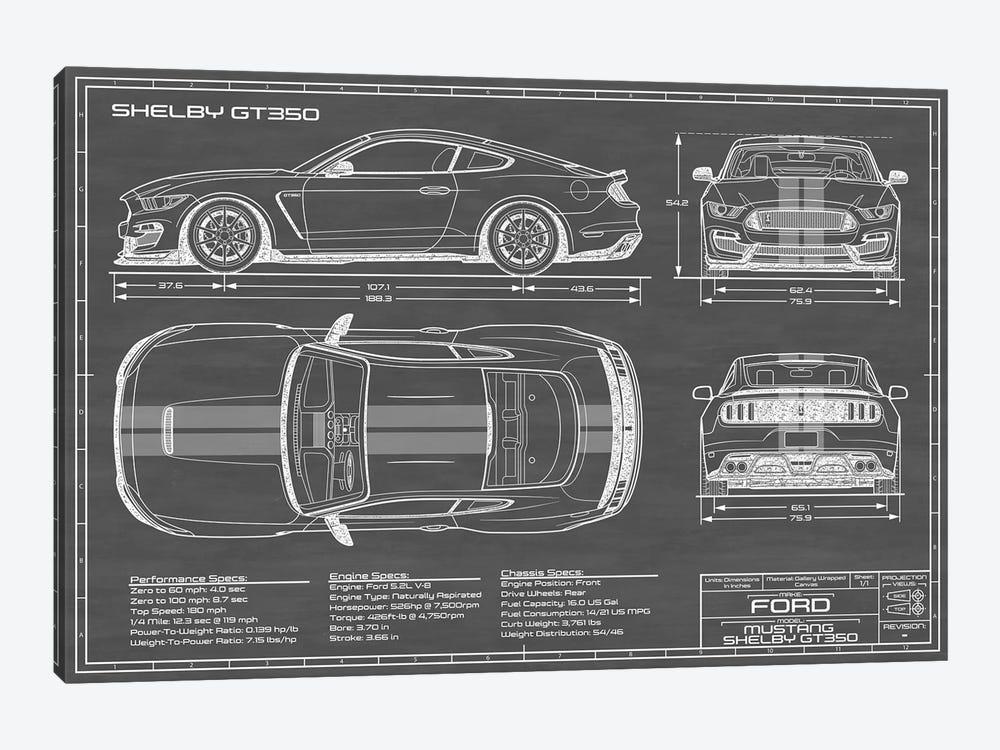 Shelby GT350 (2015-2019) Black by Action Blueprints 1-piece Art Print