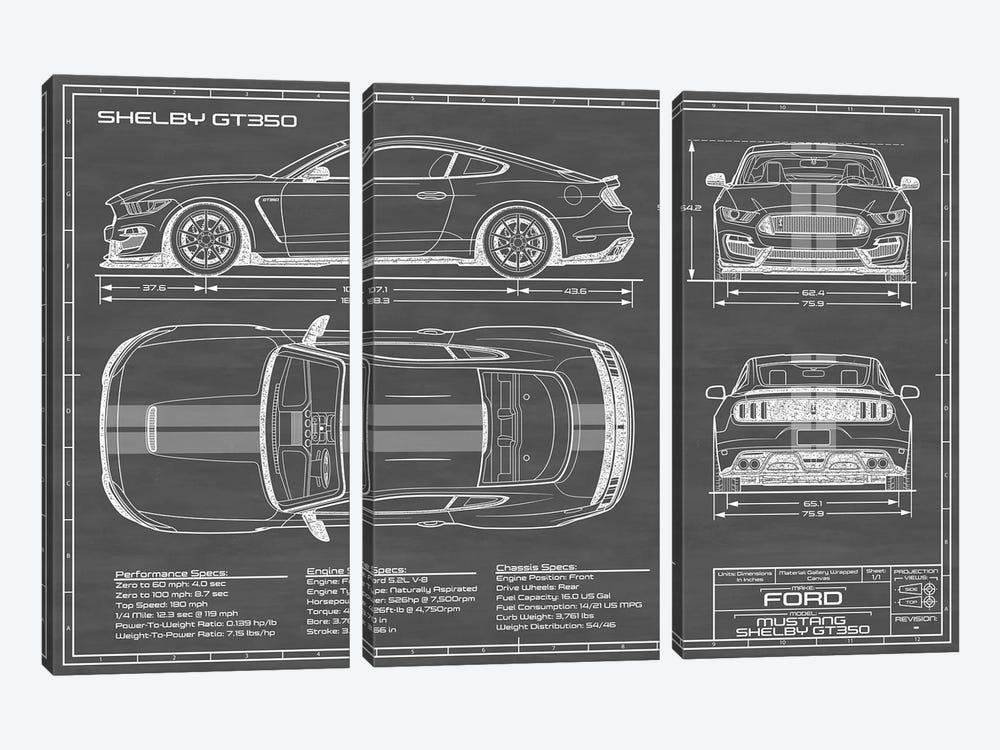Shelby GT350 (2015-2019) Black by Action Blueprints 3-piece Canvas Art Print