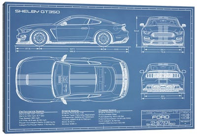 Shelby GT350 (2015-2019) Blueprint Canvas Art Print