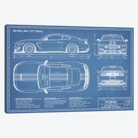 Shelby GT350 (2015-2019) Blueprint Canvas Print #ABP58} by Action Blueprints Canvas Art Print