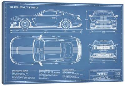 Shelby GT350 (2015-2019) Blueprint Canvas Art Print