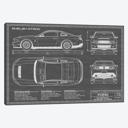 Shelby GT500 (2013-2014) Black Canvas Print #ABP59} by Action Blueprints Canvas Art Print