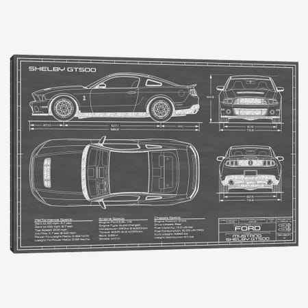 Shelby GT500 (2013-2014) Black Canvas Print #ABP59} by Action Blueprints Canvas Art Print