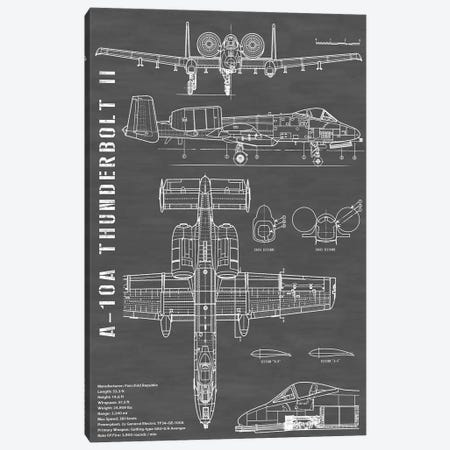 A-10 Thunderbolt II [Warthog] Airplane | Black - Portrait Canvas Print #ABP5} by Action Blueprints Canvas Art