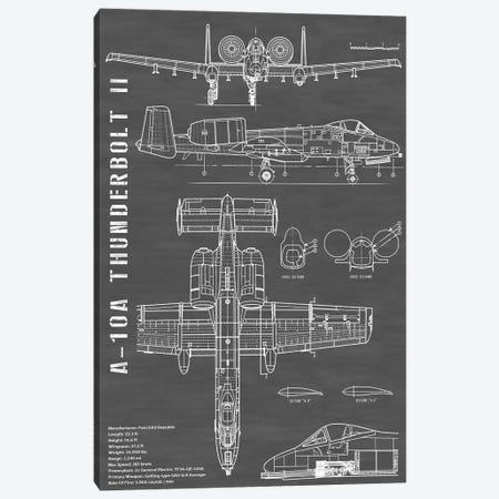 A-10 Thunderbolt II [Warthog] Airplane | Black - Portrait Canvas Print #ABP5} by Action Blueprints Canvas Art