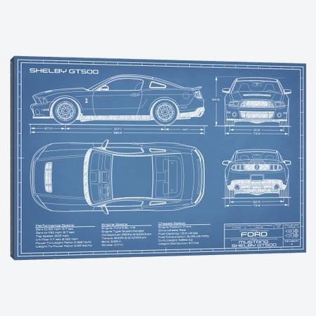 Shelby GT500 (2013-2014) Blueprint Canvas Print #ABP60} by Action Blueprints Canvas Art