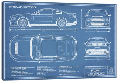 Shelby GT500 (2013-2014) Blueprint Canvas Art Print