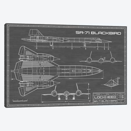 SR-71 Blackbird Spy Plane   Black Canvas Print #ABP61} by Action Blueprints Canvas Art