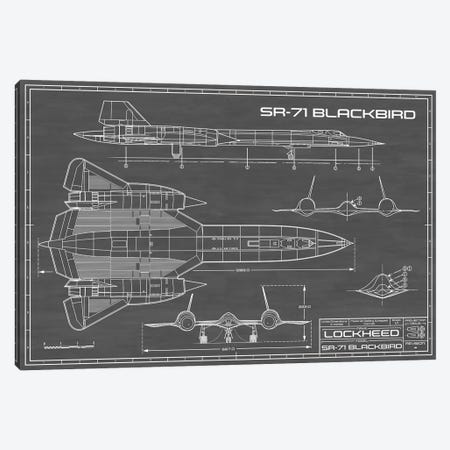 SR-71 Blackbird Spy Plane | Black Canvas Print #ABP61} by Action Blueprints Canvas Art