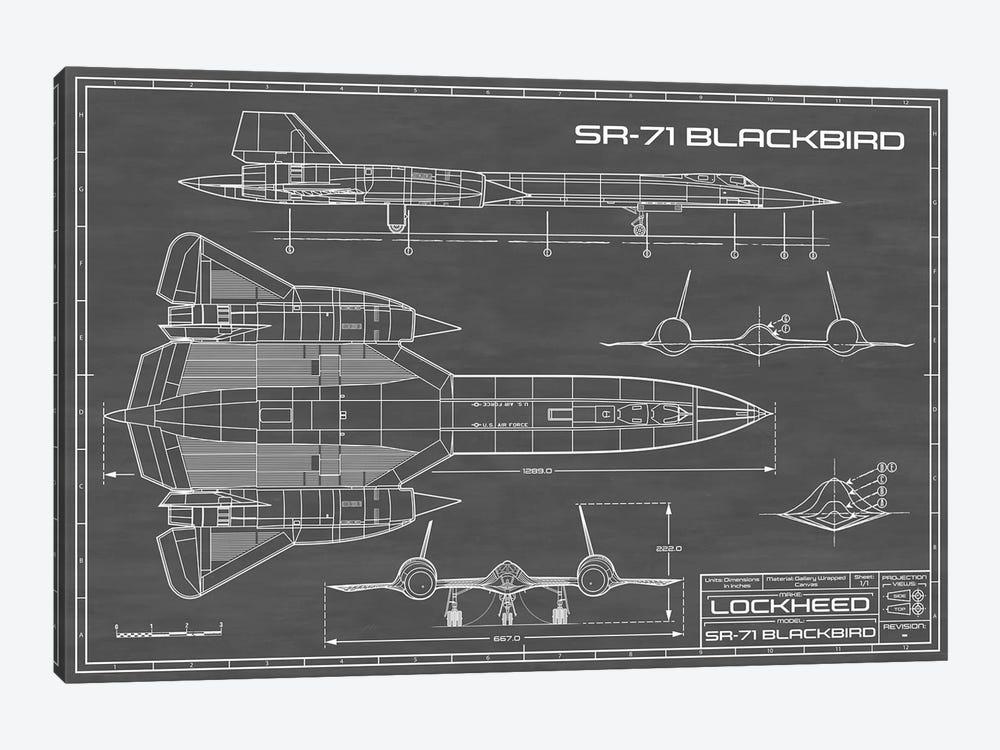 SR-71 Blackbird Spy Plane | Black by Action Blueprints 1-piece Canvas Wall Art