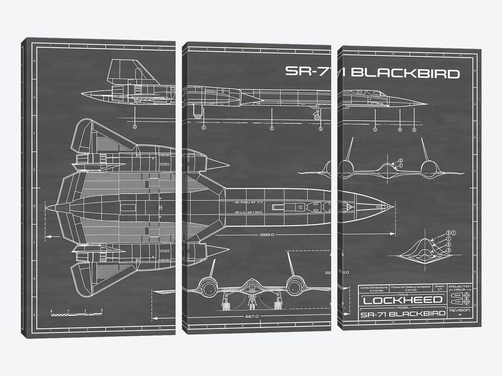 SR-71 Blackbird Spy Plane | Black by Action Blueprints 3-piece Canvas Art