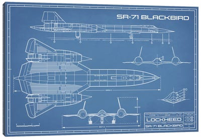 SR-71 Blackbird Spy Plane Blueprint Canvas Art Print