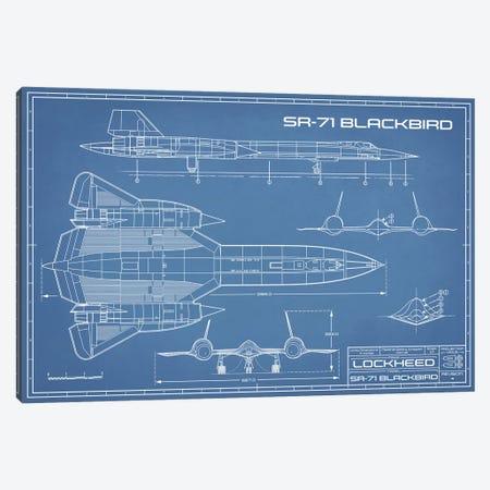 SR-71 Blackbird Spy Plane Blueprint Canvas Print #ABP62} by Action Blueprints Canvas Wall Art