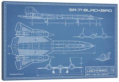 SR-71 Blackbird Spy Plane Blueprint Canvas Art Print