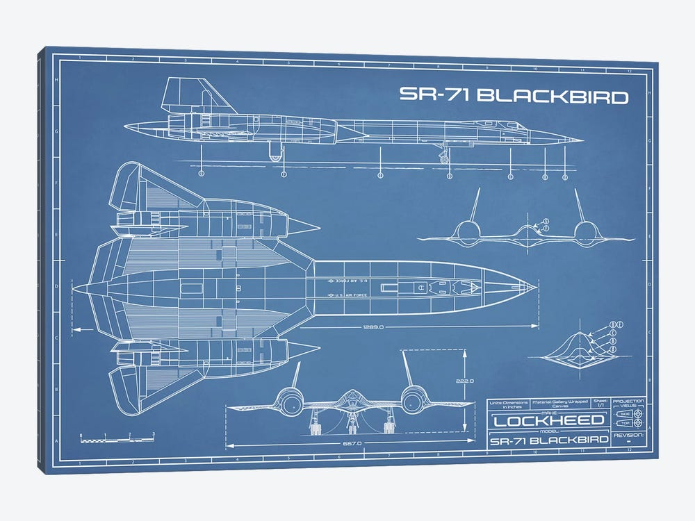 SR-71 Blackbird Spy Plane Blueprint by Action Blueprints 1-piece Canvas Print