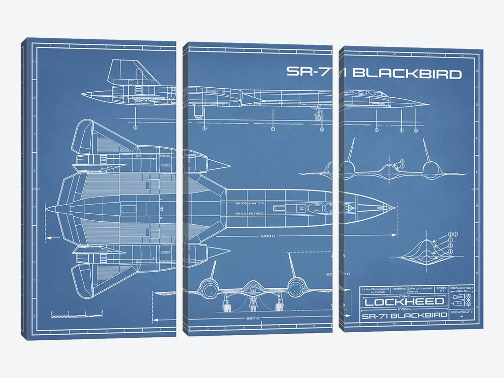SR-71 Blackbird Spy Plane Blueprint by Action Blueprints 3-piece Canvas Art Print