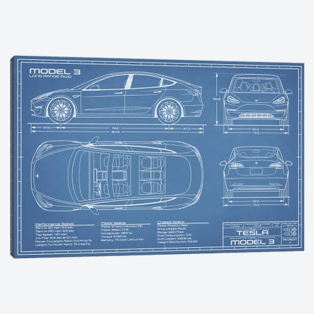 Tesla Model 3 (Long Range RWD) Blueprint Canvas Print #ABP63} by Action Blueprints Canvas Art