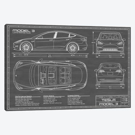 Tesla Model 3 (Long Range RWD) Blueprint Canvas Print #ABP64} by Action Blueprints Art Print
