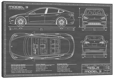 Tesla Model 3 (Long Range RWD) Blueprint Canvas Art Print