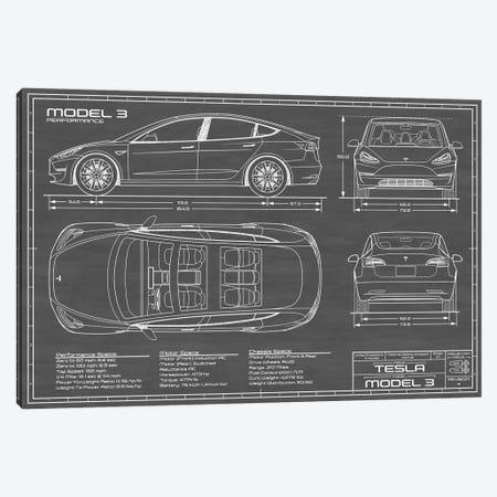 Tesla Model 3 (Performance) | Black Canvas Print #ABP65} by Action Blueprints Canvas Print