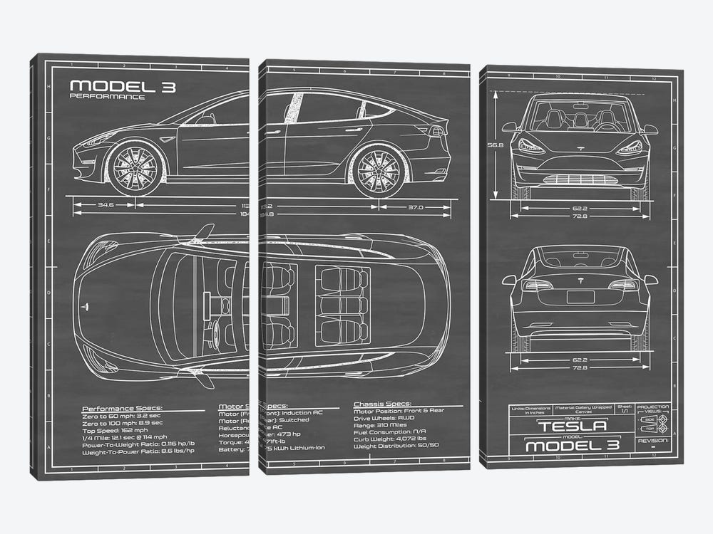 Tesla Model 3 (Performance) | Black by Action Blueprints 3-piece Canvas Wall Art