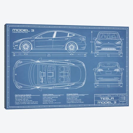 Tesla Model 3 (Performance) Blueprint Canvas Print #ABP66} by Action Blueprints Canvas Art Print